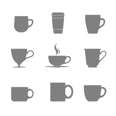 Thee en koffie beker pictogram set. Vector illustratie