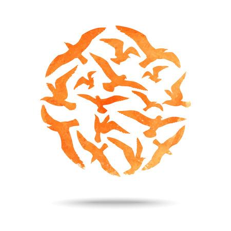 Bola de la acuarela de siluetas que vuelan gaviotas. Ilustración del vector. El horario de verano Foto de archivo - 40090348