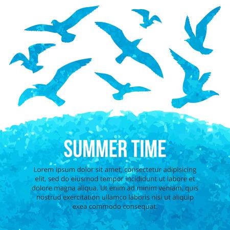 カモメが海の上を飛んでの水彩のシルエット。ベクトルの図。夏の時間