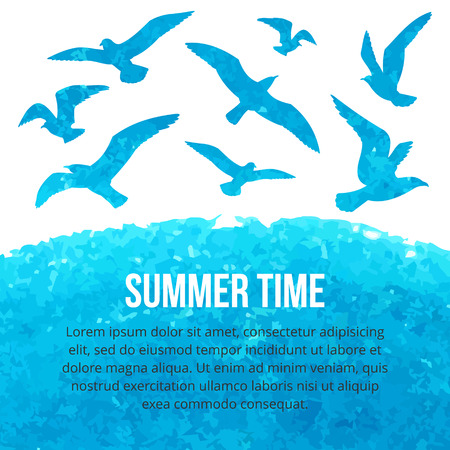 Watercolor silhouettes of seagulls flying over the sea. Vector illustration. Summer time