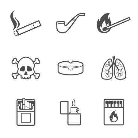 Vector illustration of smoking line style icons set. 9 elements