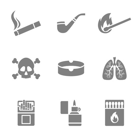matchstick: Vector illustration of smoking silhouette icons set. 9 elements