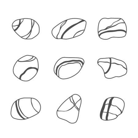 zen attitude: Icon set de pierres sur la mer. Vector illustration Illustration