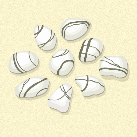 sand background: Sea stones collection on sand background. Vector illustration Illustration