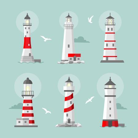 logotipo turismo: Vector conjunto de faros planos de dibujos animados. Torres Searchlight para gu�a de navegaci�n mar�tima Vectores