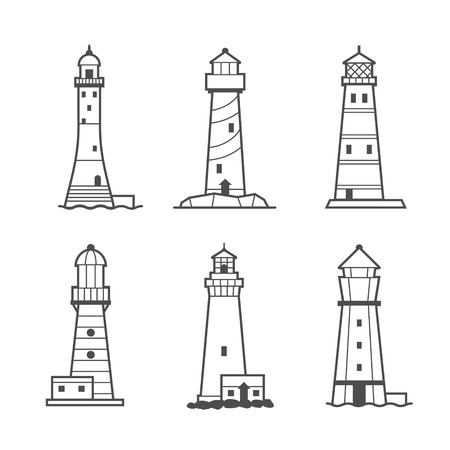 sea beach: Simple vector icon or logo set of black and white lighthouses. Searchlight towers for maritime navigational guidance