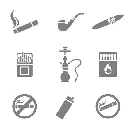 fumando: Ilustraci�n vectorial de iconos de la silueta de fumar ajustado. 9 elementos Vectores