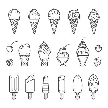 Vector icon set of yummy ice cream. Collection of different flavours and kinds Vettoriali