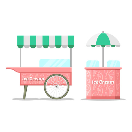 ice cream cart: Ice cream colorful cart. Vector illustration, cute style, isolated on white background