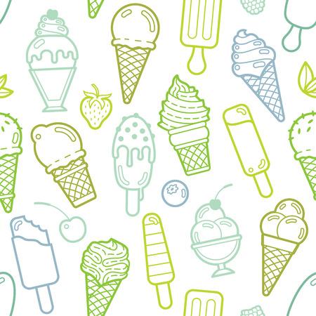 helados caricatura: Cal Modelo inconsútil lindo con diferentes tipos de helados. Ilustración del vector. Antecedentes para el menú del café, tela y papel de regalo Vectores