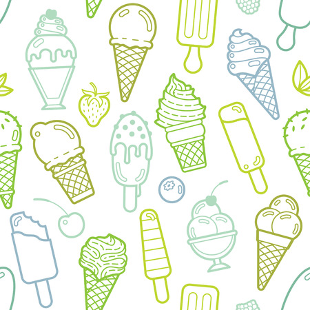 waffle ice cream: Cute lime seamless pattern with different types of ice cream. Vector illustration. Background for cafe menu, fabric and wrapping paper