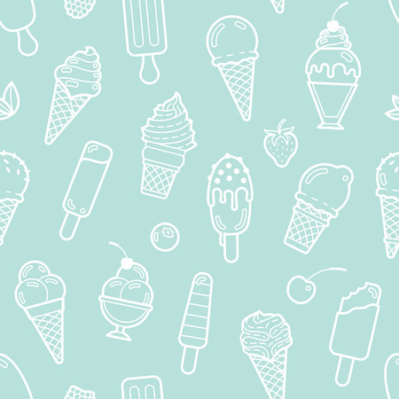 Cute mint seamless pattern with different types of ice cream. Vector illustration. Background for cafe menu, fabric and wrapping paper