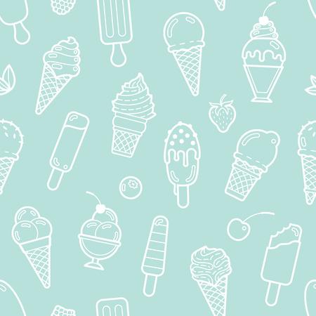 Leuke munt naadloos patroon met verschillende soorten ijs. Vector illustratie. Achtergrond voor het cafe menu, stof en inpakpapier Stock Illustratie