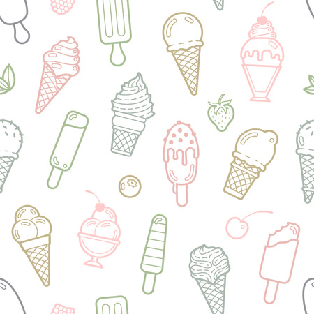 Cute pastel seamless pattern with different types of ice cream. Vector illustration. Background for cafe menu, fabric and wrapping paper Vettoriali