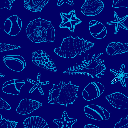 Vector blue seamless pattern of watercolor sea shells, stars and stones