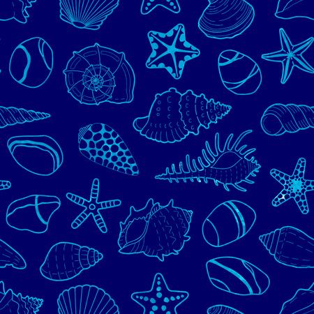 azul: Vector azul sin patrón de mar acuarela conchas, estrellas y piedras