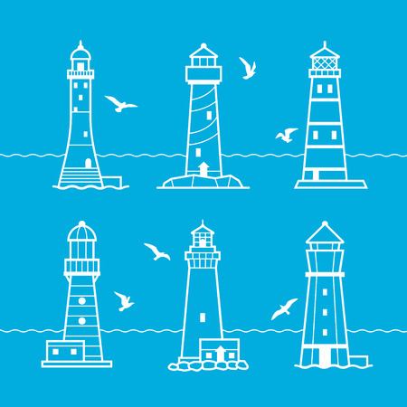 searchlight: Simple vector icon or logo set lighthouses on blue background. Searchlight towers for maritime navigational guidance