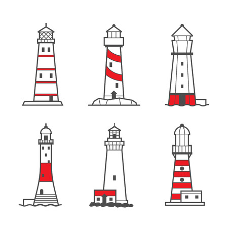 searchlight: Vector icon or logo set of black and white lighthouses. Searchlight towers for maritime navigational guidance