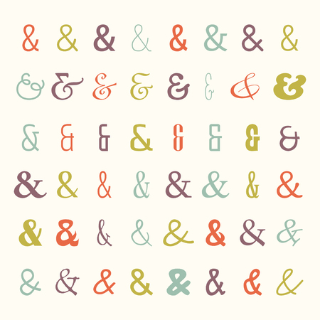 et: Vector set of colored ampersands icons. Symbols from different fonts. For letters and wedding invitation