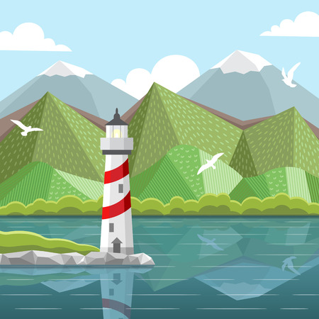 sea landscape: Vector sea landscape with lighthouse. Flat cartoon illustration on a background of mountain, hills and clouds.