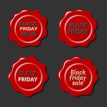 wax sell: Black friday sale. Vector set of red wax stamps. Old wax seal. Design elements