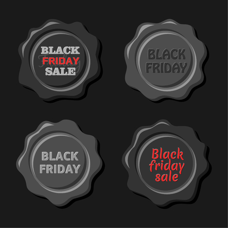 wax sell: Black friday sale. Vector set of black wax stamps. Old wax seal. Design elements Illustration