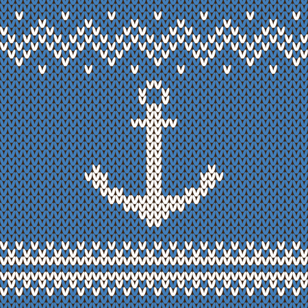 knitting: Vector winter blue and white ornament. Sweater design with anchor on the wool knitted texture