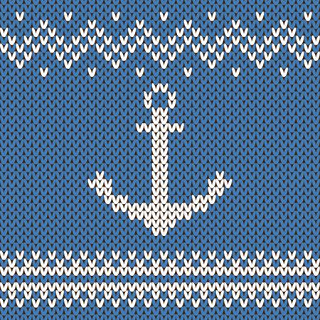 sueter: vectores de invierno ornamento azul y blanco. diseño del suéter con el ancla de la textura de punto de lana Vectores