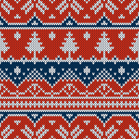 new year of trees: Winter seamless pattern. Sweater design with new year trees on the wool knitted texture. Vector blue and red Christmas and new year ornament Illustration