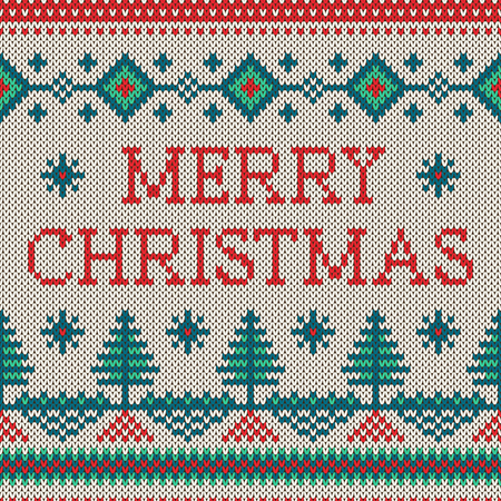 wool: Winter seamless pattern with Merry Christmas text. Sweater design with new year trees on the wool knitted texture. Vector beige, green and red Christmas and new year ornament