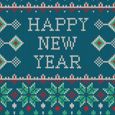 sueter: Invierno sin fisuras patrón con el texto de la Feliz Año Nuevo. suéter del diseño con nuevos árboles año en la textura de tejidos de lana. amarillento vector, verde y rojo de Navidad y adornos del Año Nuevo