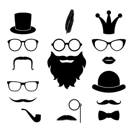 ヒップスターの要素 - 口ひげ、メガネ、ひげ、帽子、唇、ウィスカ、クラウン、羽、ボウタイ、モノクルのベクトルを設定します。Photosessions やパー  イラスト・ベクター素材