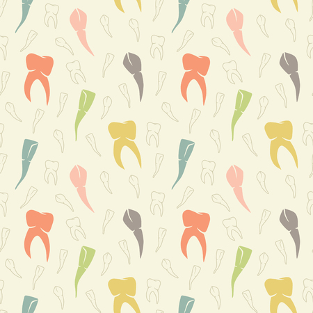 Seamless teeth colorful vector pattern on light background. Stomatology and dental background.