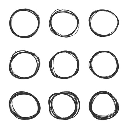 Vector light set of hand drawn scribble circles. Logo design elements