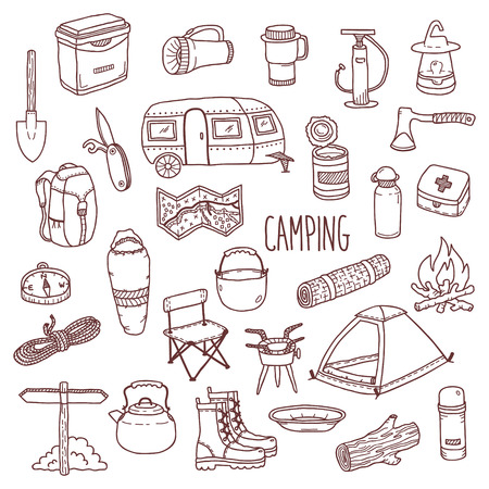 camping: Camping vector icon and symbols set. Doodle contour style camp equipment. Hand drawn sketch style illustration isolated on white background. Elements for use in design, packing, textile, logo.