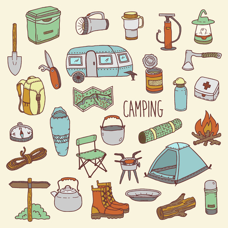 camping: Camping vector icon and symbols set. Hand drawn sketch style colored illustration. Colorful doodle style camp equipment. Elements for use in design, packing, textile, logo.