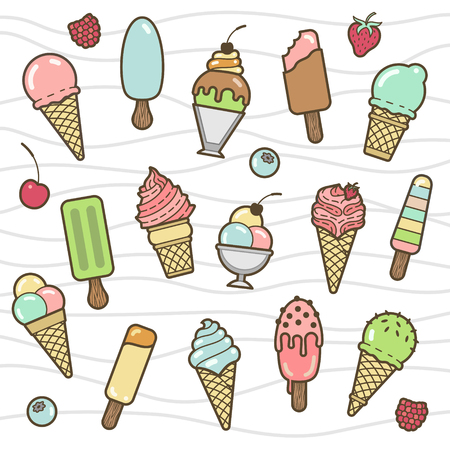 Vector icon set of yummy colored ice cream. Collection of different flavours and kinds