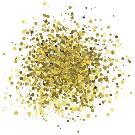 Abstract illustrazione vettoriale di punti d'oro casuali e cerchio confetti. Elemento di design per banner, carta, invito, etichetta, cartolina, vignetta Vettoriali