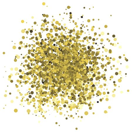 starfall: Abstract vector illustration of random golden dots and circle confetti. Design element for banner, card, invitation, label, postcard, vignette