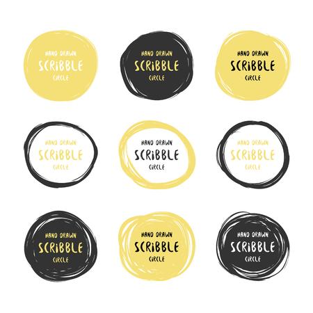 Vector set di 9 disegnata a mano circoli scarabocchio nero e oro. elementi di design del logo