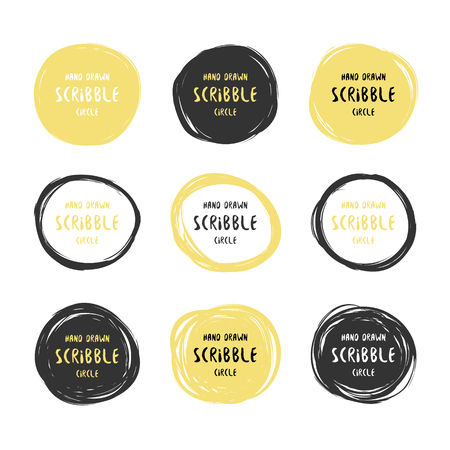 Vector set of 9 hand drawn black and gold scribble circles. Logo design elements