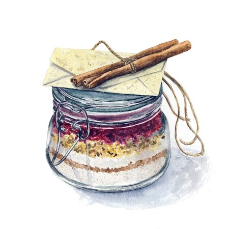 flour: Modern colorful watercolor hand drawn full cooking pot with locked cover and envelop and cinnamon sticks on the top. Crockery with ingredients, isolated on white background.
