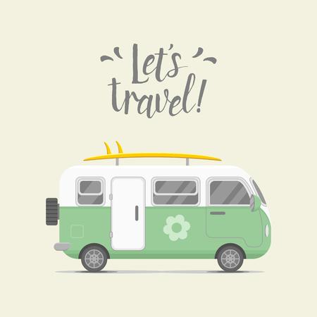 caravan trailer. Stacaravan illustratie. Traveler truck flat icoon. Family reiziger vrachtwagen zomer reis concept. embleem concept. Laten we reizen