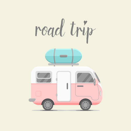trips: caravan trailer with baggage box. Mobile home illustration. Traveler truck flat icon. Family traveler truck summer trip concept. emblem concept. Road trip