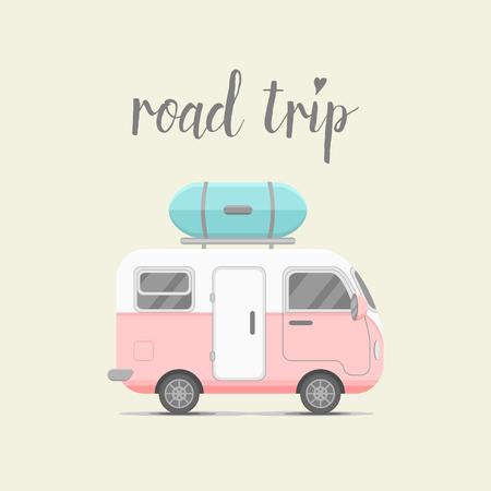 camion caricatura: caravana de remolque con caja de equipaje. ilustraci�n casa m�vil. cami�n que viaja icono plana. La pareja del concepto de cami�n que viaja viaje de verano. concepto emblema. Viaje Vectores