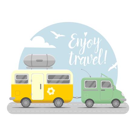 mobil: caravan trailer end car landscape. Mobil home illustration. Traveler truck flat icon.  Family traveler truck summer trip concept.  emblem concept. Enjoy travel Illustration