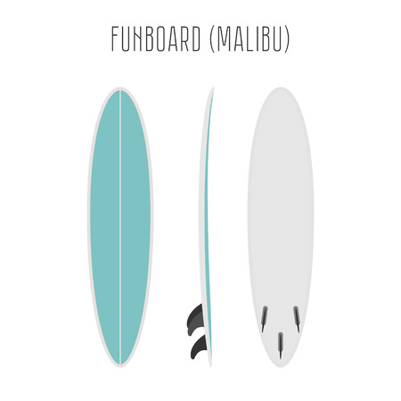 beach side: surf fun board with three sides. Blank template. Three projections Illustration