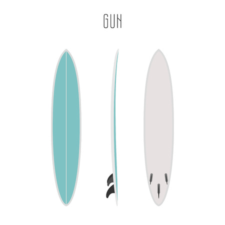 sea side: surf gun board with three sides. Blank template. Three projections