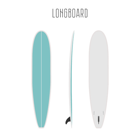 projections: surf long board with three sides. Blank template. Three projections Illustration