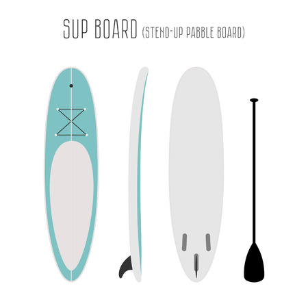 projections: surf sup board with three sides. Blank template. Three projections